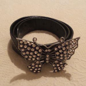 Accessories - Rhinestone Butterfly buckle belt